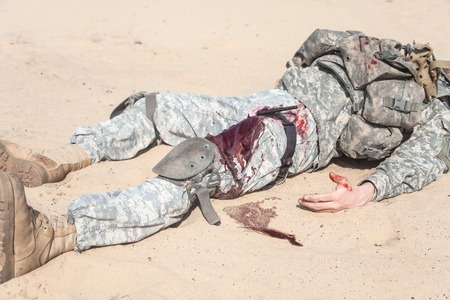 paratrooper: Wounded US paratrooper airborne infantrymen in the desert Stock Photo
