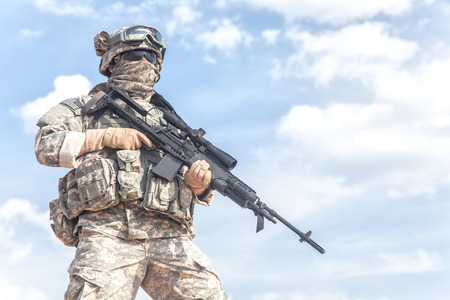 us soldier: United States paratrooper airborne infantry in uniform