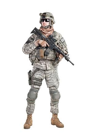 米国の落下傘兵空挺歩兵スタジオ白い背景で撮影 写真素材