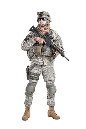us soldier: United States paratrooper airborne infantry studio shot on white background