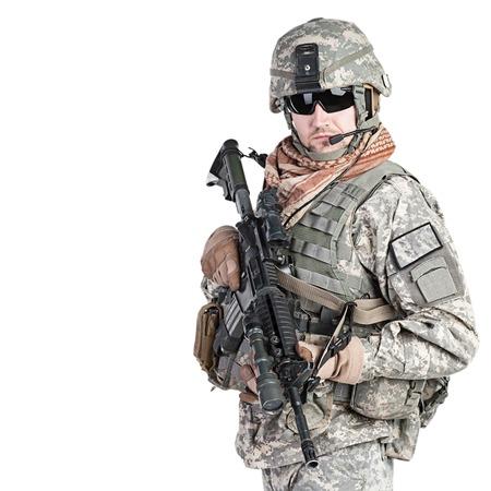 infantryman: United States paratrooper airborne infantry studio shot on white background