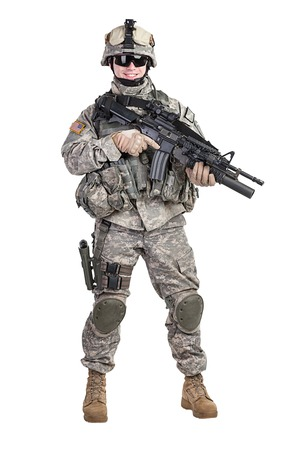 infantry: United States paratrooper airborne infantry studio shot on white background