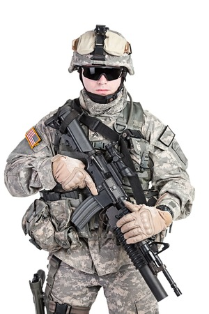 american soldier: United States paratrooper airborne infantry studio shot on white background