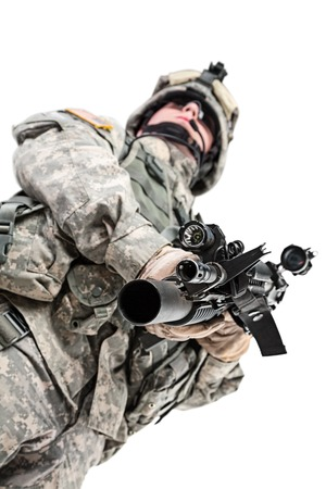 recon: United States paratrooper airborne infantry studio shot on white background
