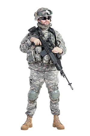 paratrooper: United States paratrooper airborne infantry studio shot on white background