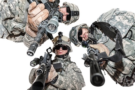 infantryman: United States paratroopers airborne infantry studio shot on white background