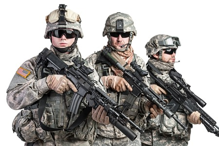 United States paratroopers airborne infantry studio shot on white background