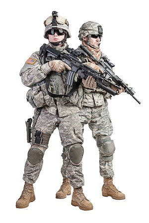 squad: United States paratroopers airborne infantry studio shot on white background