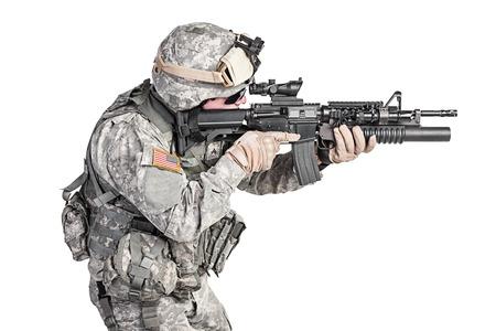 airborne: United States paratrooper airborne infantry studio shot on white background