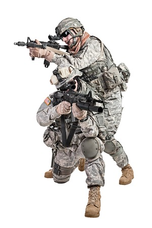 assault forces: United States paratroopers airborne infantry studio shot on white background