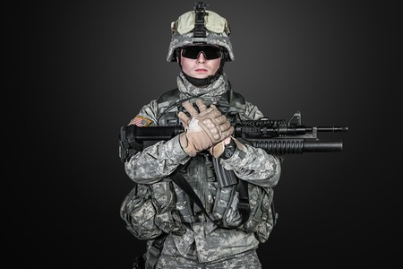 paratrooper: United States paratrooper airborne infantry studio shot on black background Stock Photo