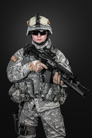 infantryman: United States paratrooper airborne infantry studio shot on black background Stock Photo