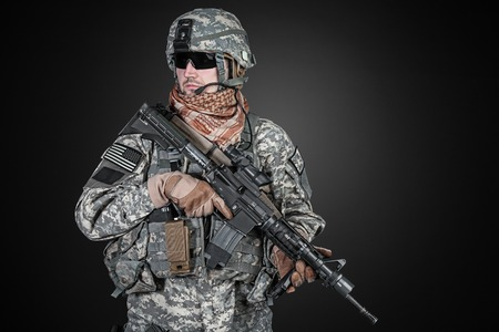infantry: United States paratrooper airborne infantry studio shot on black background Stock Photo