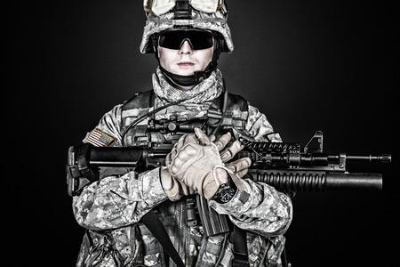 airborne: United States paratrooper airborne infantry studio shot on black background Stock Photo
