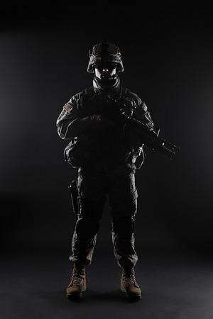recon: United States paratrooper airborne infantry studio shot on black background Stock Photo
