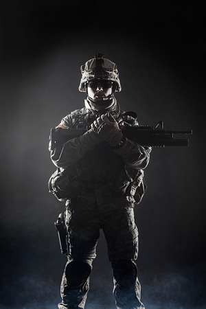 infantryman: United States paratrooper airborne infantry in the smoke