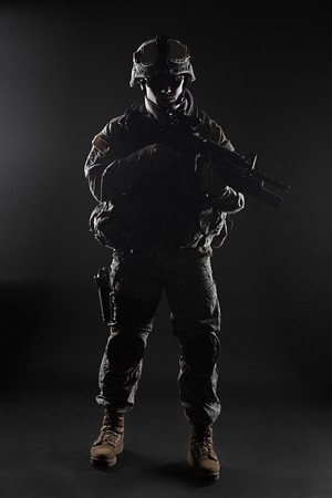 infantry: United States paratrooper airborne infantry studio shot on black background Stock Photo