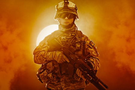 infantry: United States paratrooper airborne infantry in the smoke