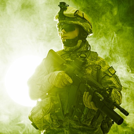 armed: United States paratrooper airborne infantry in the smoke