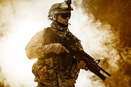 paratrooper: United States paratrooper airborne infantry in the smoke