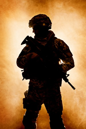 airborne: United States paratrooper airborne infantry in the smoke