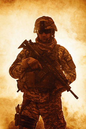 rifleman: United States paratrooper airborne infantry in the smoke