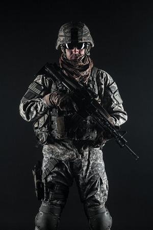 rifleman: United States paratrooper airborne infantry studio shot on black background Stock Photo