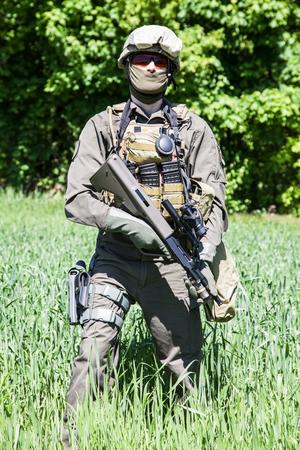 german handgun: Jagdkommando soldier Austrian special forces equipped with rifle