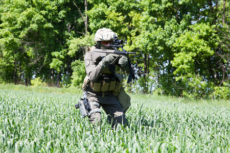 german handgun: Jagdkommando soldier Austrian special forces equipped with rifle