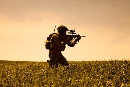 Jagdkommando-soldaat Oostenrijkse special forces uitgerust met geweer Stockfoto - 45285971