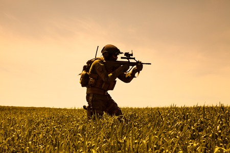 recon: Jagdkommando soldier Austrian special forces equipped with rifle