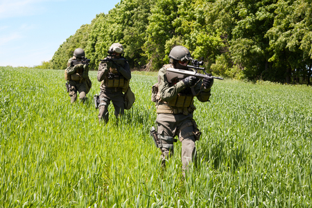 german soldier: Group of jagdkommando soldiers Austrian special forces Stock Photo