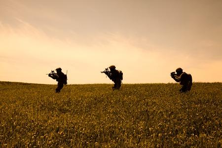 german handgun: Group of jagdkommando soldiers Austrian special forces Stock Photo