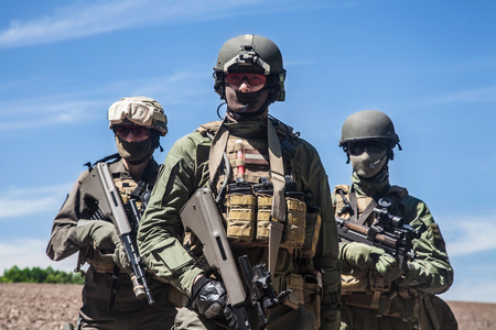 squad: Group of jagdkommando soldiers Austrian special forces Stock Photo