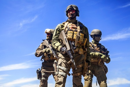 austrian: Group of jagdkommando soldiers Austrian special forces Stock Photo