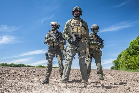 assault forces: Group of jagdkommando soldiers Austrian special forces Stock Photo