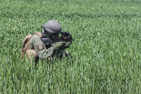 german soldier: Jagdkommando soldier Austrian special forces equipped with rifle