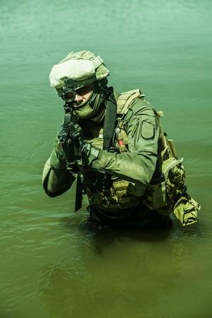 german handgun: Jagdkommando Austrian special forces equipped with  assault  rifle Stock Photo