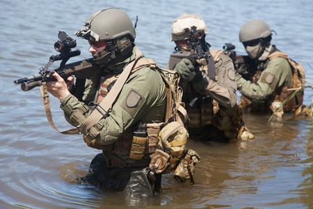 austrian: Jagdkommando Austrian special forces equipped with  assault  rifle Stock Photo