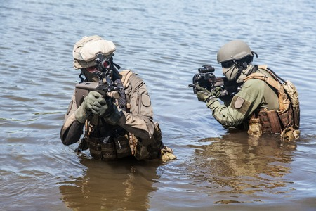 special forces: Jagdkommando Austrian special forces equipped with  assault  rifle Stock Photo