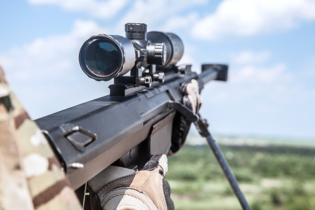 us army: US Army ranger sniper with huge rifle
