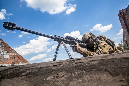 regiment: US Army ranger sniper with huge rifle