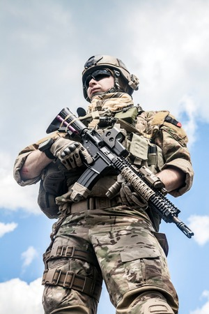 american army: United States Army ranger with assault rifle
