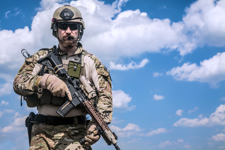military special forces: United States Army ranger with assault rifle