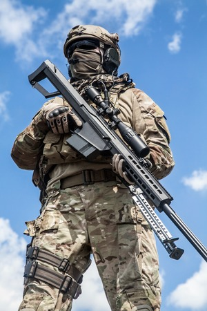 sniper: US Army ranger sniper with huge rifle