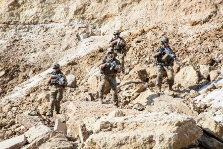 army uniform: United States Army rangers in the mountains