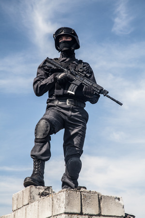 swat: Spec ops police subdivision SWAT in action Stock Photo