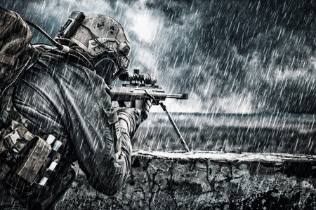 U.S. Army sniper during the military operation Stockfoto