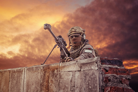 sniper: U.S. Army sniper during the military operation Stock Photo