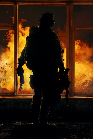 american army: United States Army ranger during the military operation